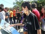 Vista de alunos em visita à Praça do Sol em São Manuel/SP